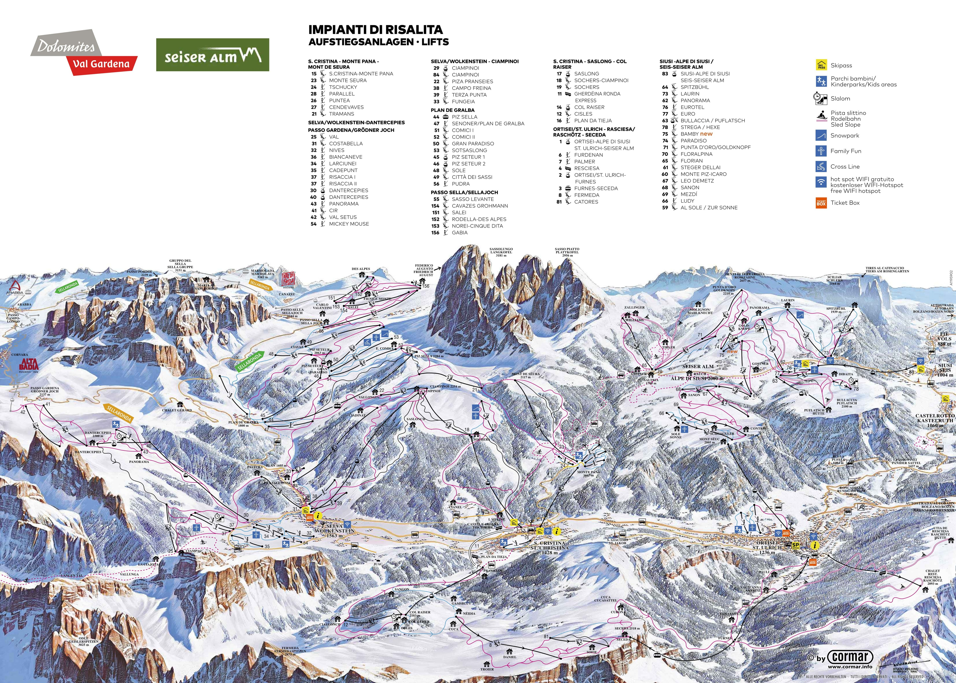 Alpe Di Siusi Piste / Trail Map