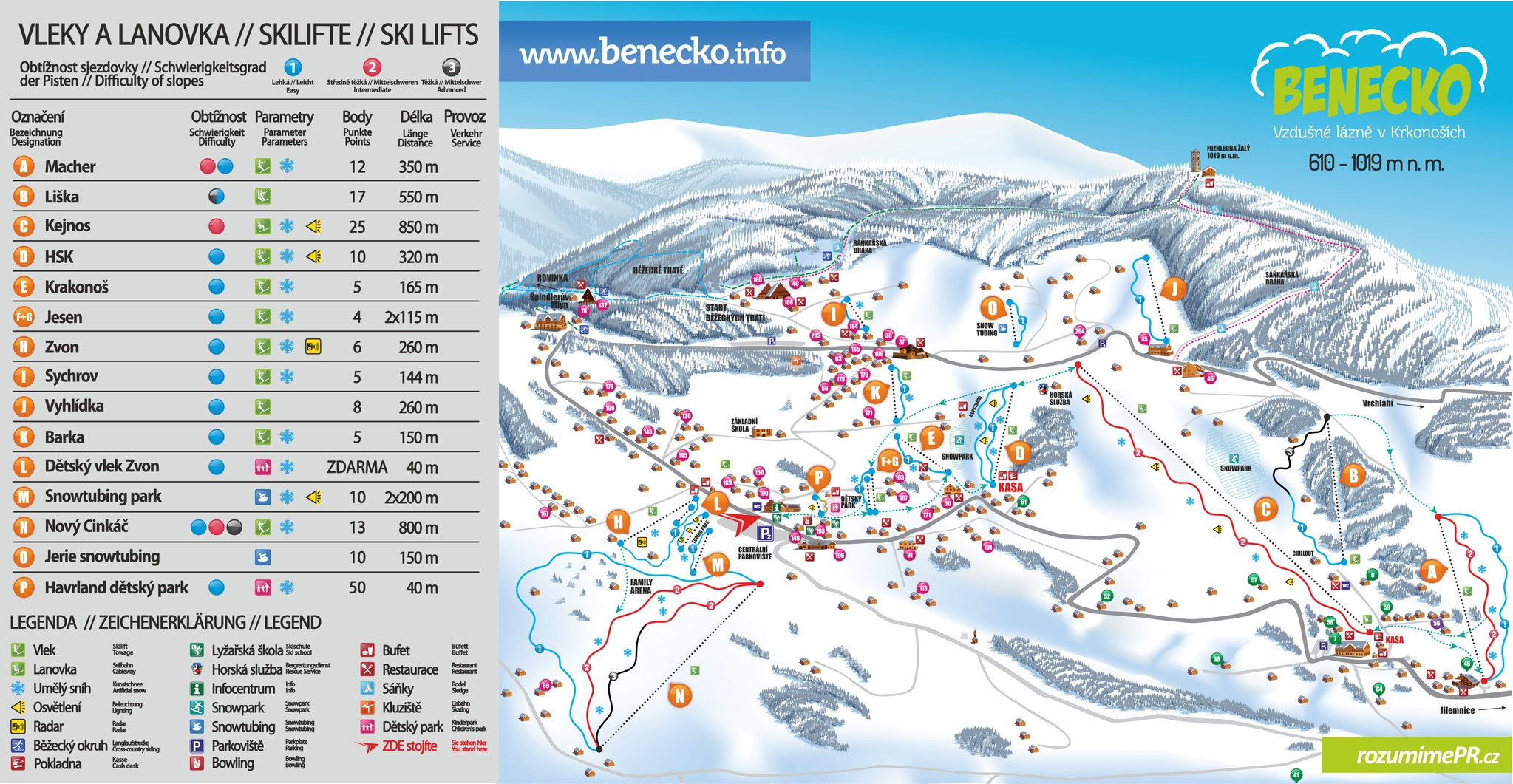 Benecko Piste / Trail Map