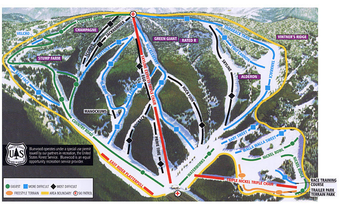 Bluewood Piste / Trail Map