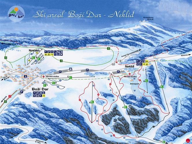 Boží Dar - Neklid Piste / Trail Map