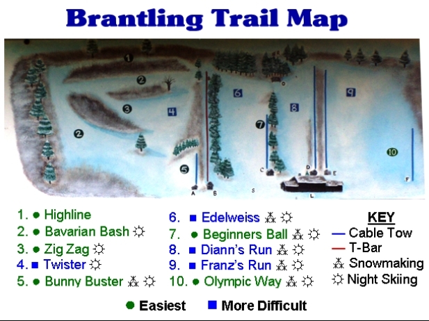 Brantling Ski Slopes Piste / Trail Map