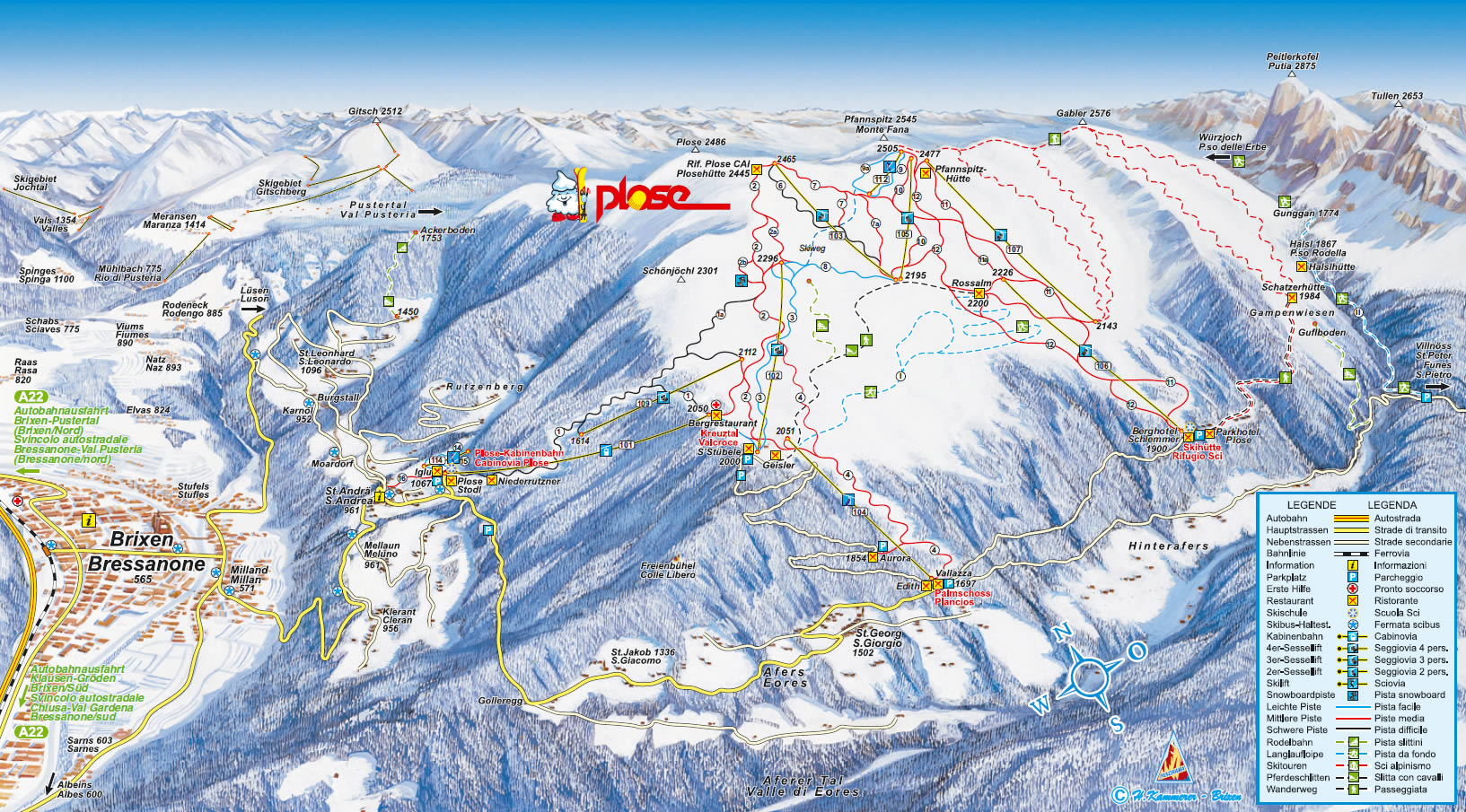 Plose Brixen Piste / Trail Map