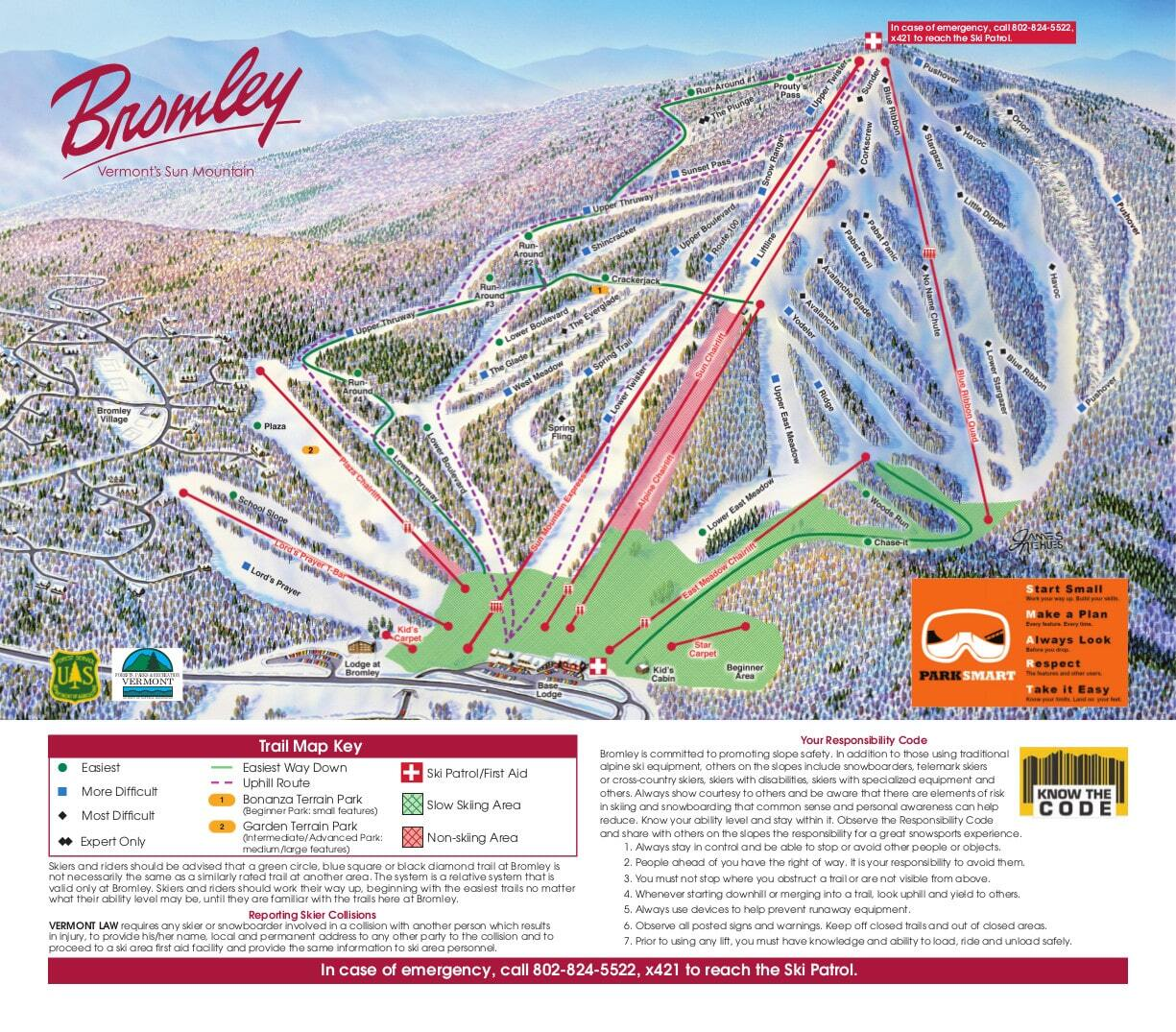 Bromley Mountain Ski Resort Guide Location Map Bromley