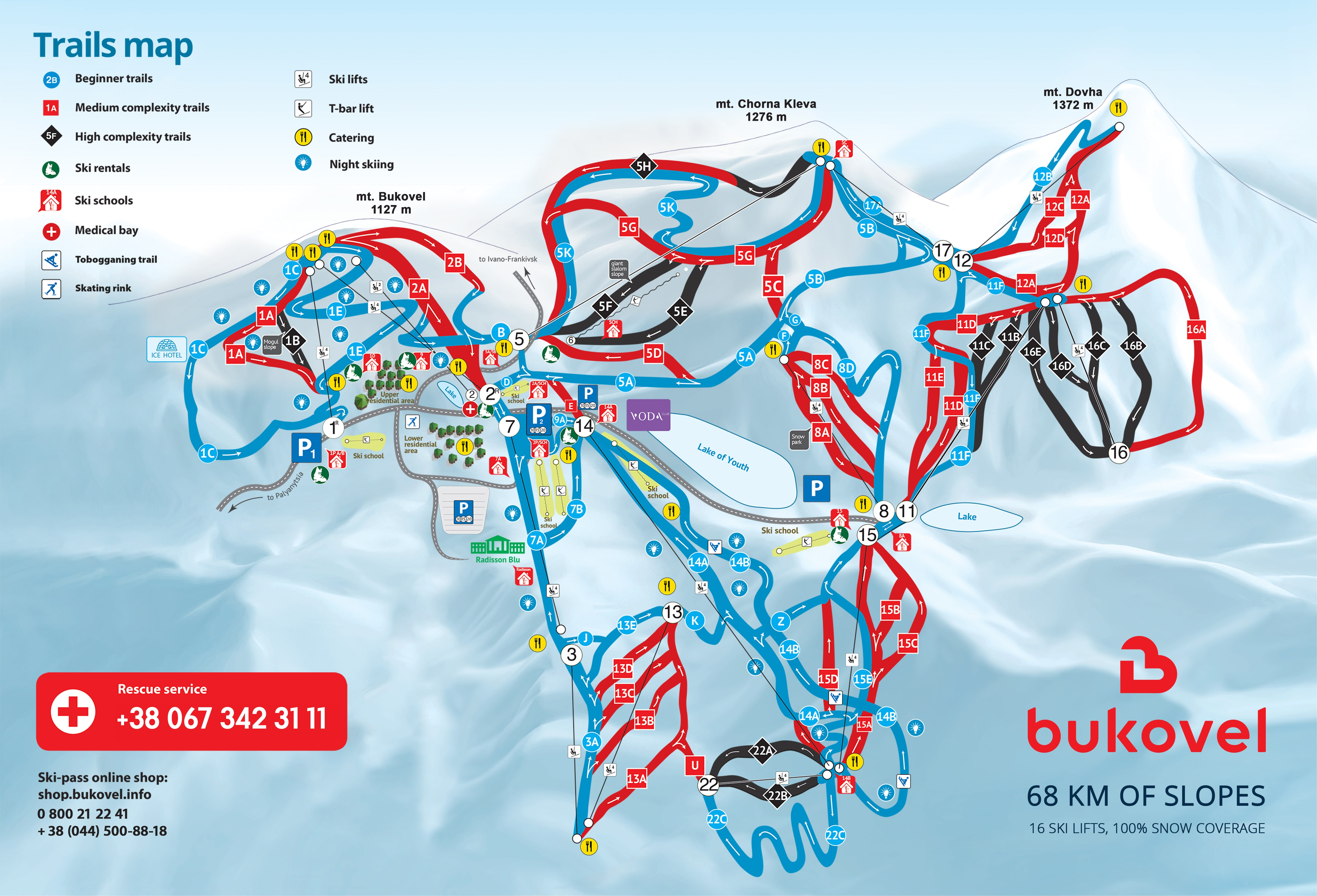 Bukovel Piste / Trail Map