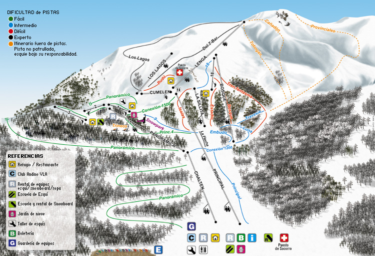 Cerro Bayo Piste / Trail Map