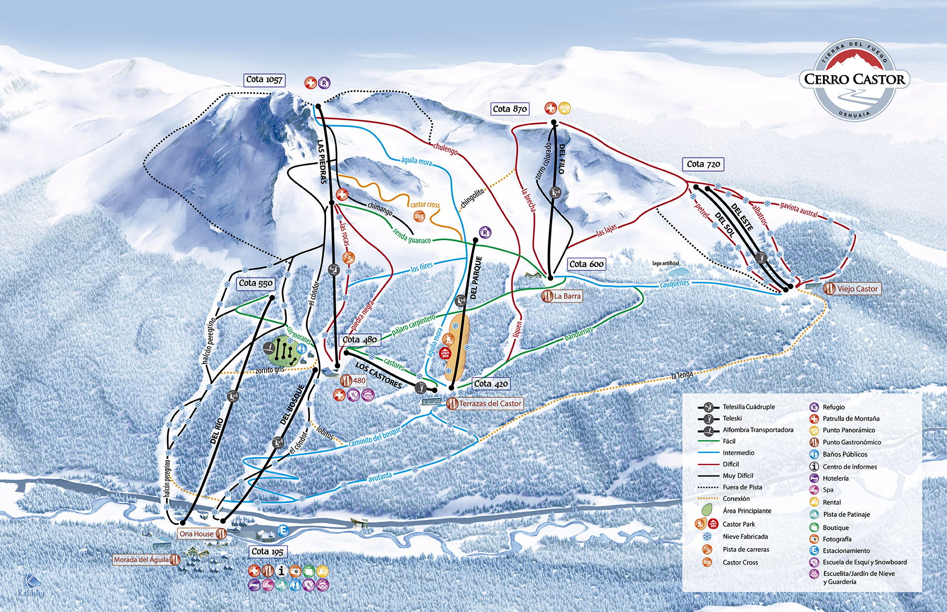 Cerro Castor Ski Resort Guide Location Map Cerro Castor Ski - Argentina map ushuaia