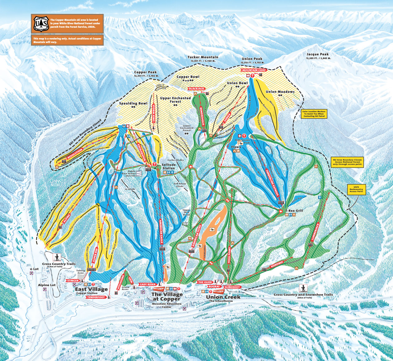. copper mountain piste map  trail map (high res)