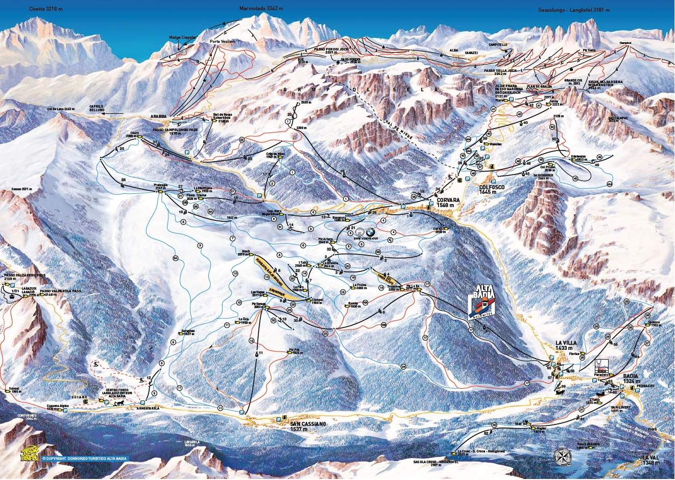 Corvara (Alta Badia) Piste Map / Trail Map