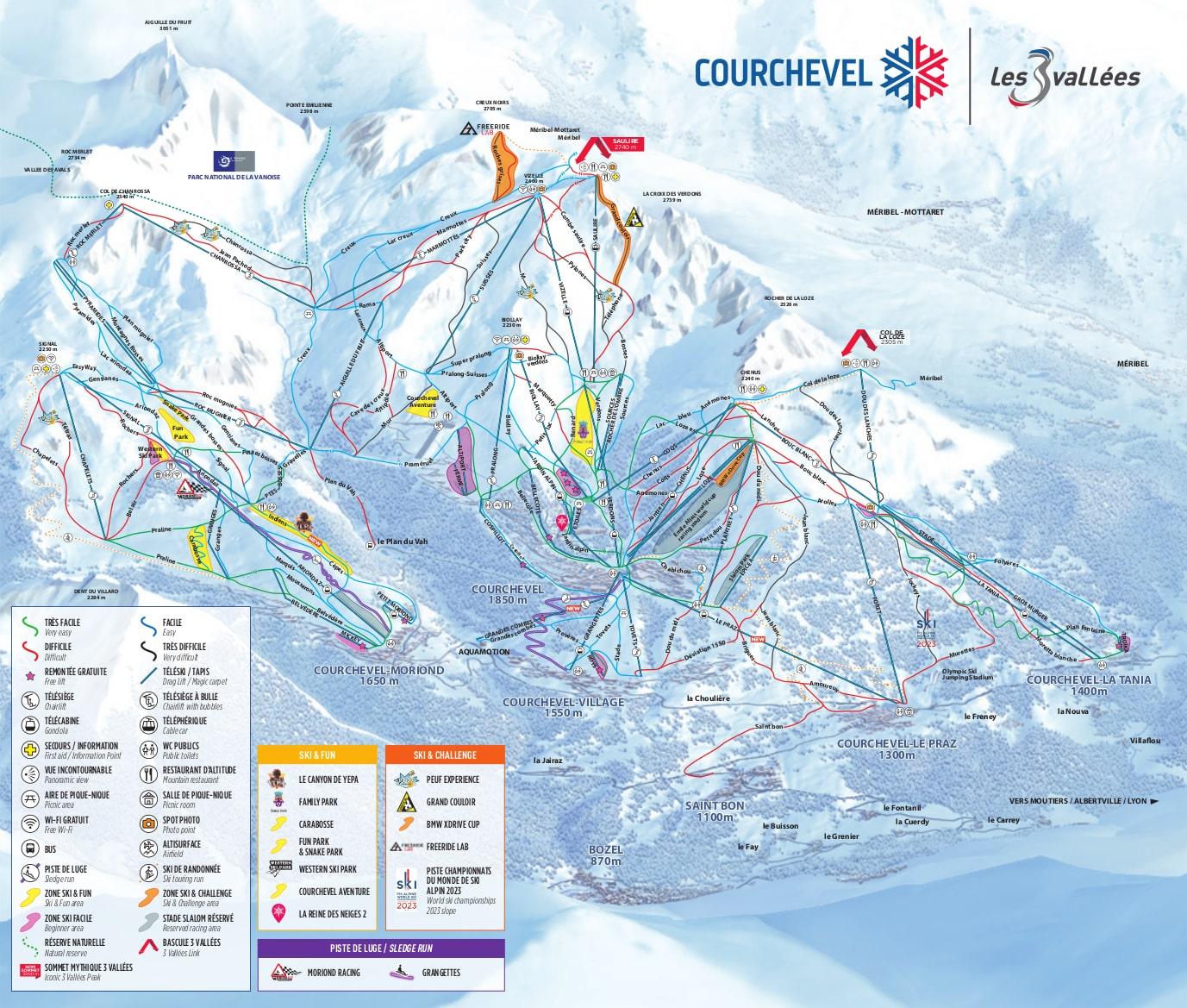 Courchevel Piste Map Trail Map