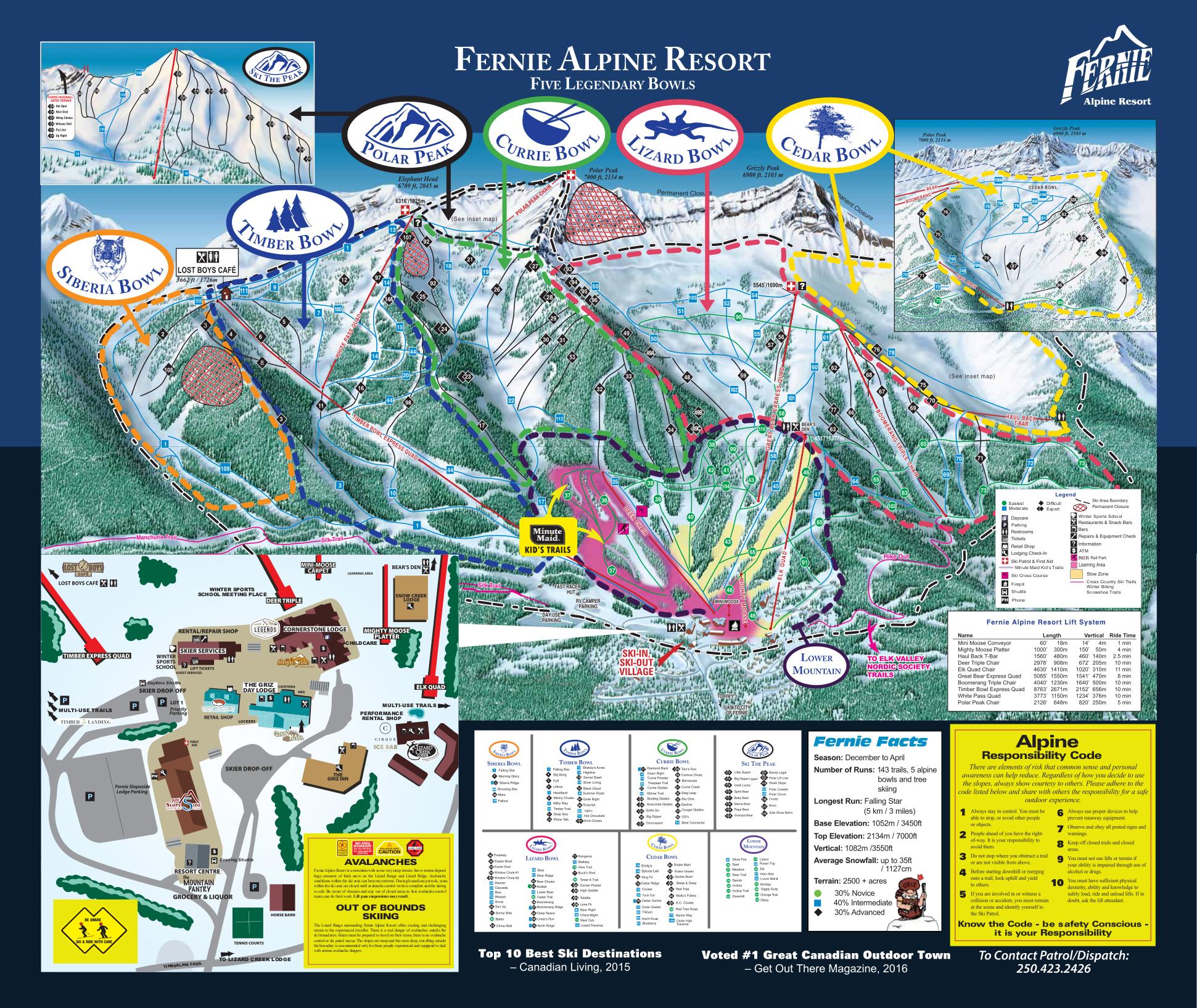 Fernie Piste Map  Trail Map