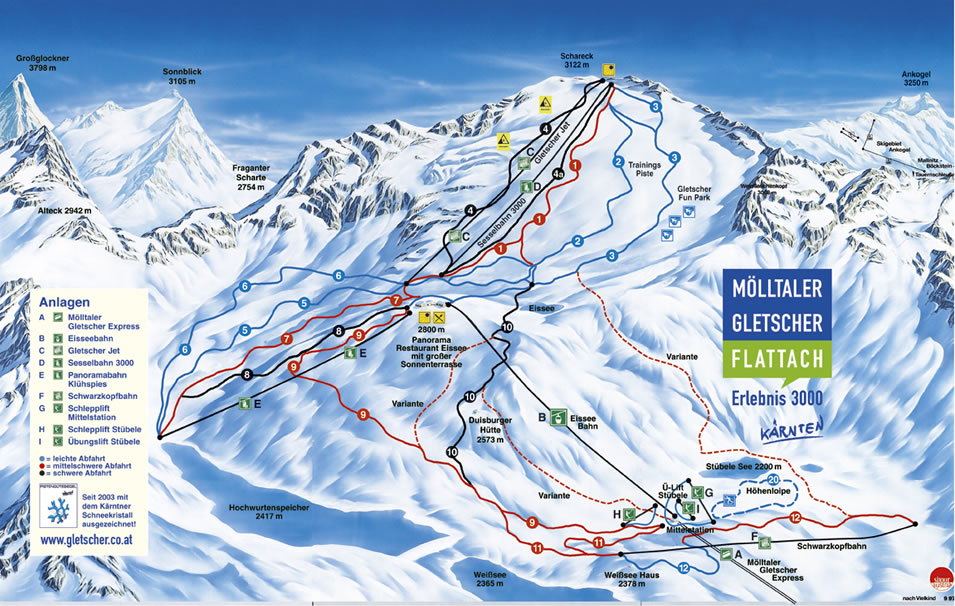 Flattach Piste / Trail Map