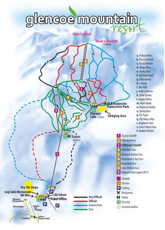Glencoe Mountain Resort Ski Resort Guide Location Map