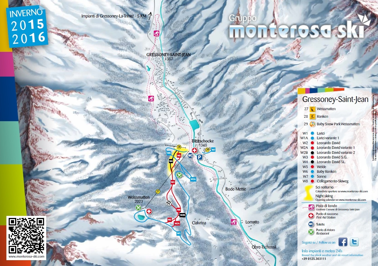 Gressoney-Saint-Jean Piste / Trail Map