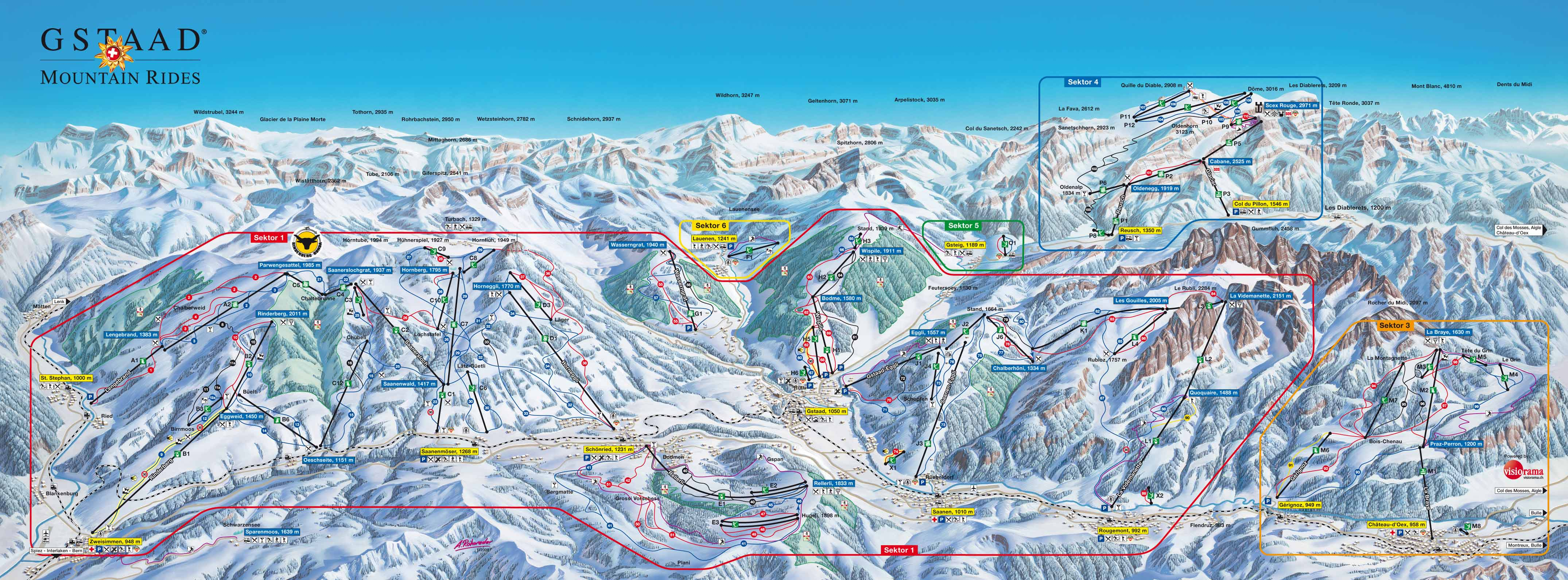 Gstaad - Saanen - Rougemont Piste / Trail Map