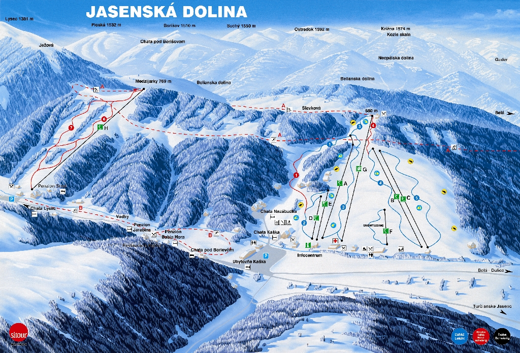 Jasenská Dolina Piste / Trail Map