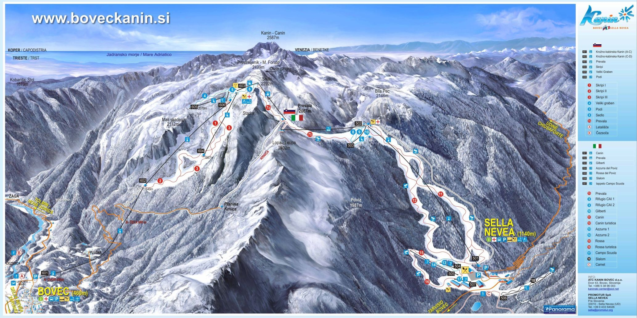 Bovec - Kanin Piste / Trail Map