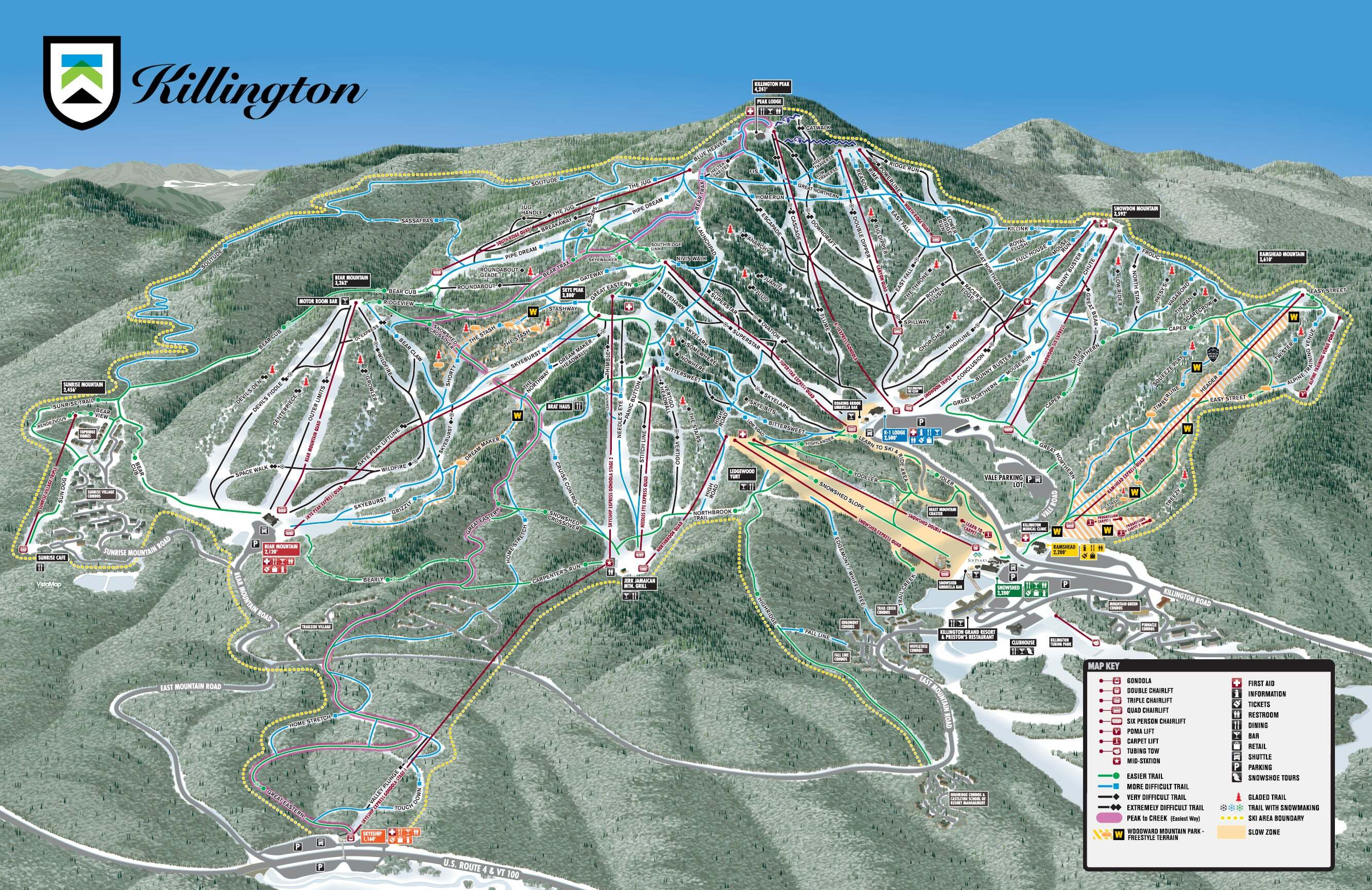 Killington Ski Resort Guide Location Map & Killington ski holiday