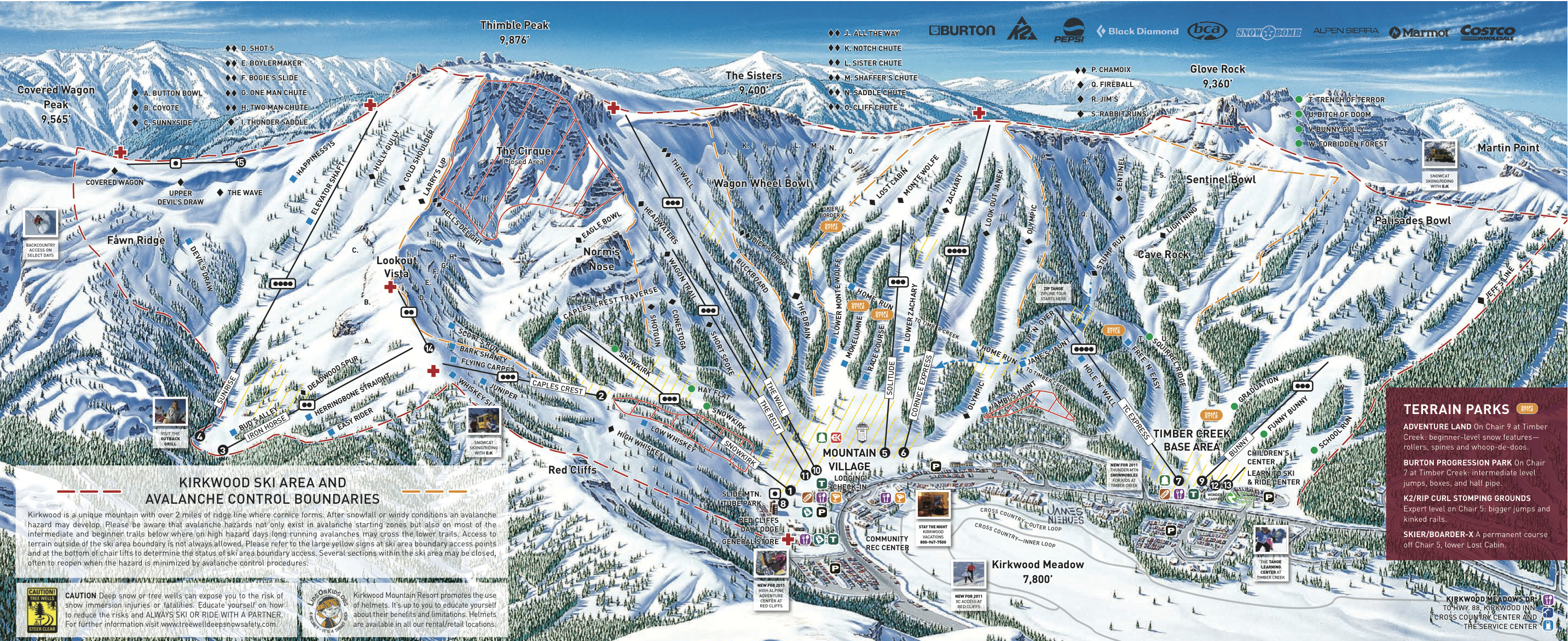 Kirkwood piste map trail map for The kirkwood