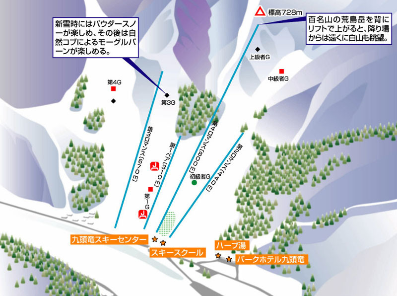 Kuzuryu Piste / Trail Map