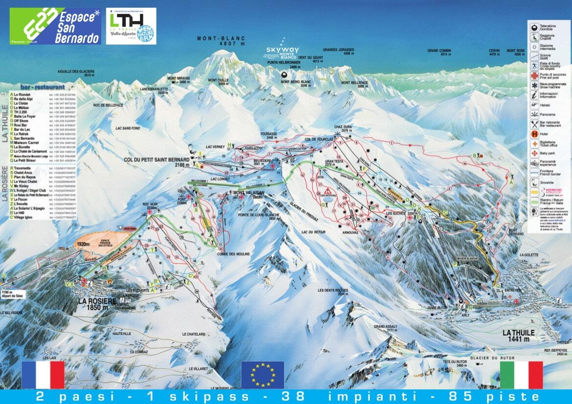 La Thuile Italy  city pictures gallery : La Thuile Piste Map / Trail Map