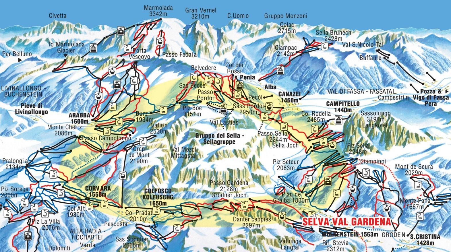 Кликните по изображению, чтобы увидеть полную версию карты трасс в Corvara.  Browse the ski and snowboard runs on the...