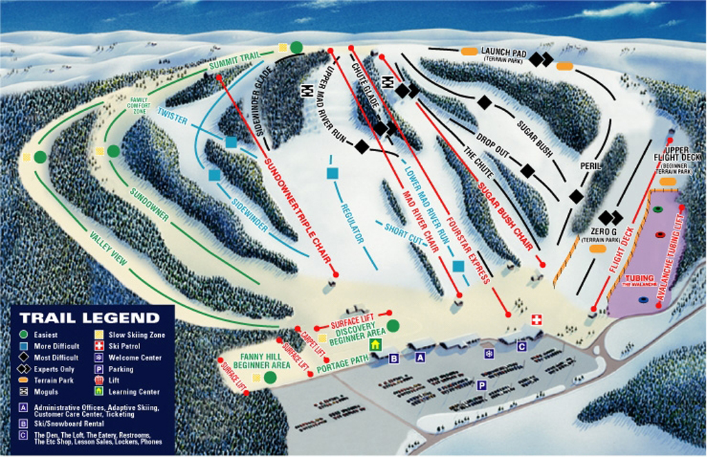 Mad River Mountain Piste / Trail Map