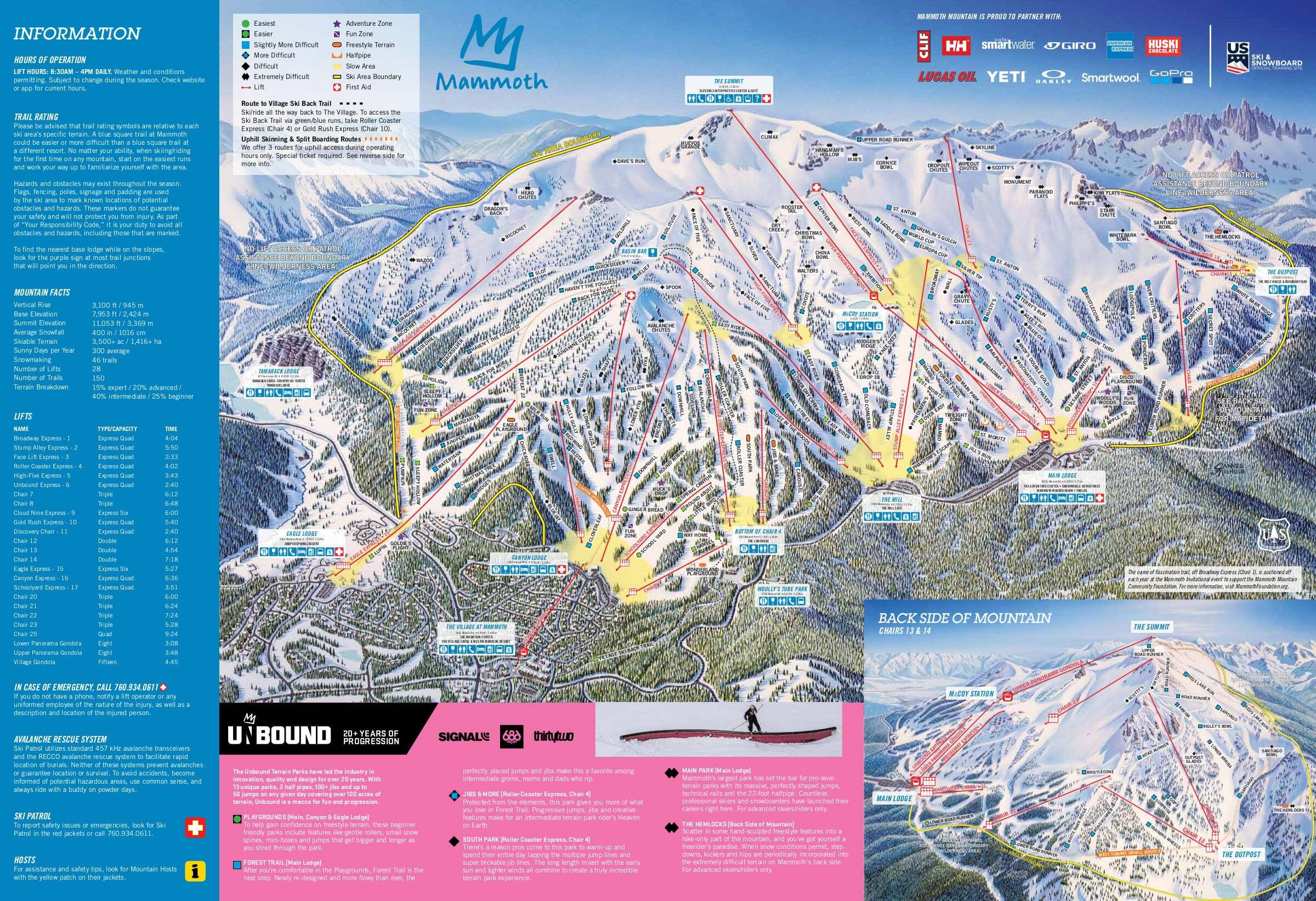 Browse the ski and snowboard runs on the Mammoth Mountain piste map below.