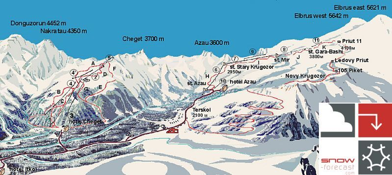 Mount Elbrus Ski Resort Guide Location Map Mount Elbrus Ski - Mt elbrus map