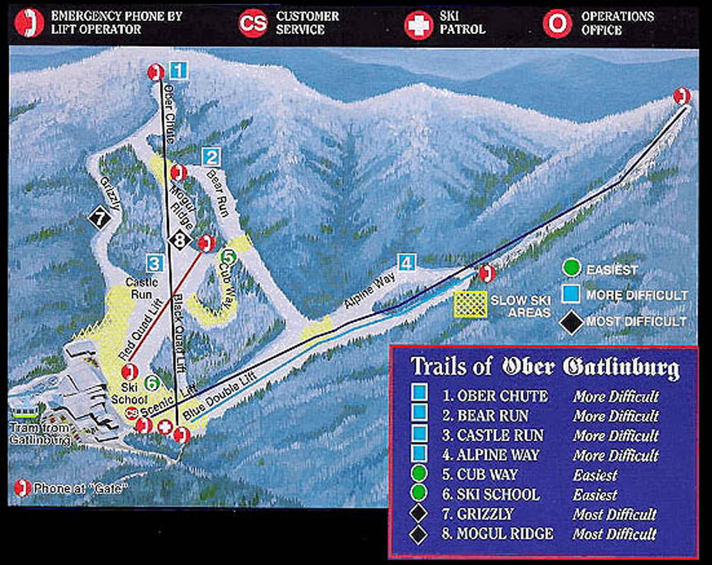 Ober Gatlinburg Ski Resort Piste / Trail Map