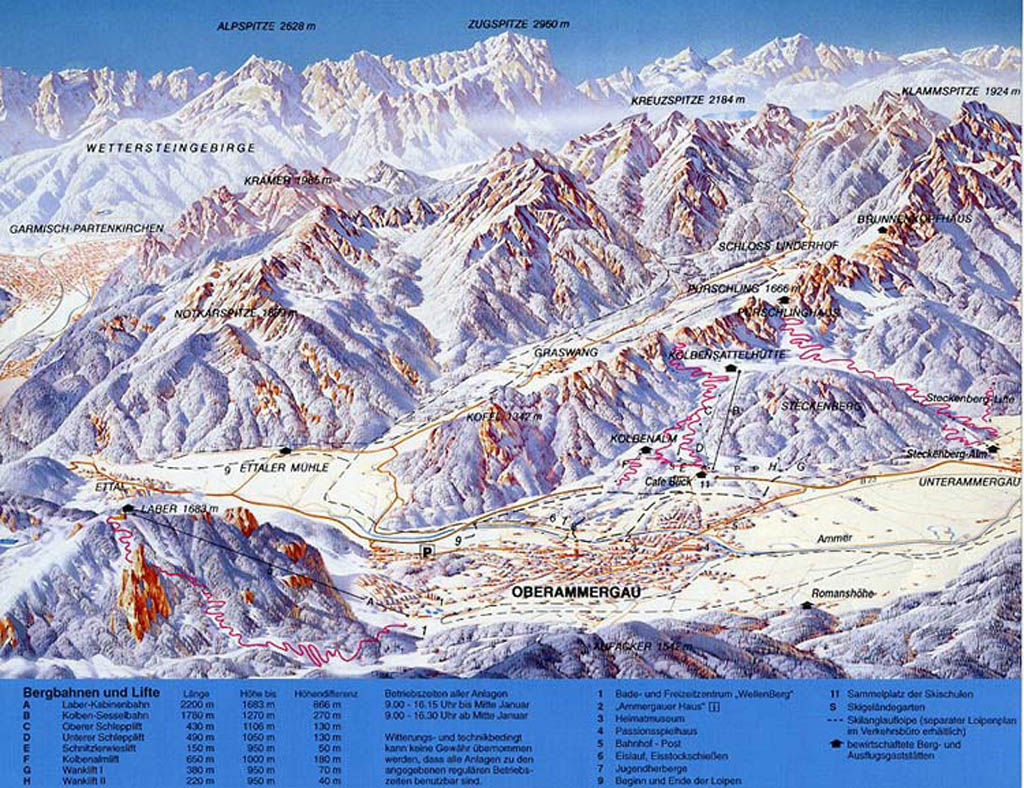 Oberammergau/Laber Piste Map / Trail Map