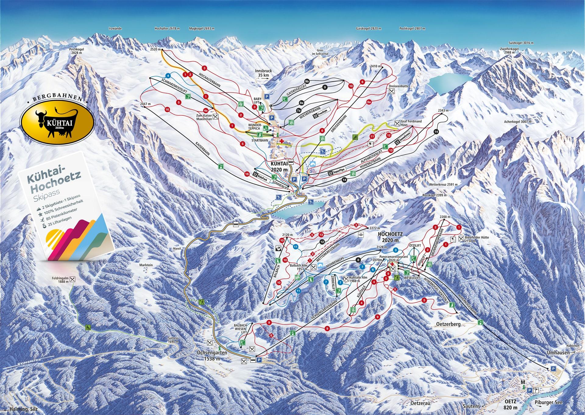 Oetz mapka narciarska