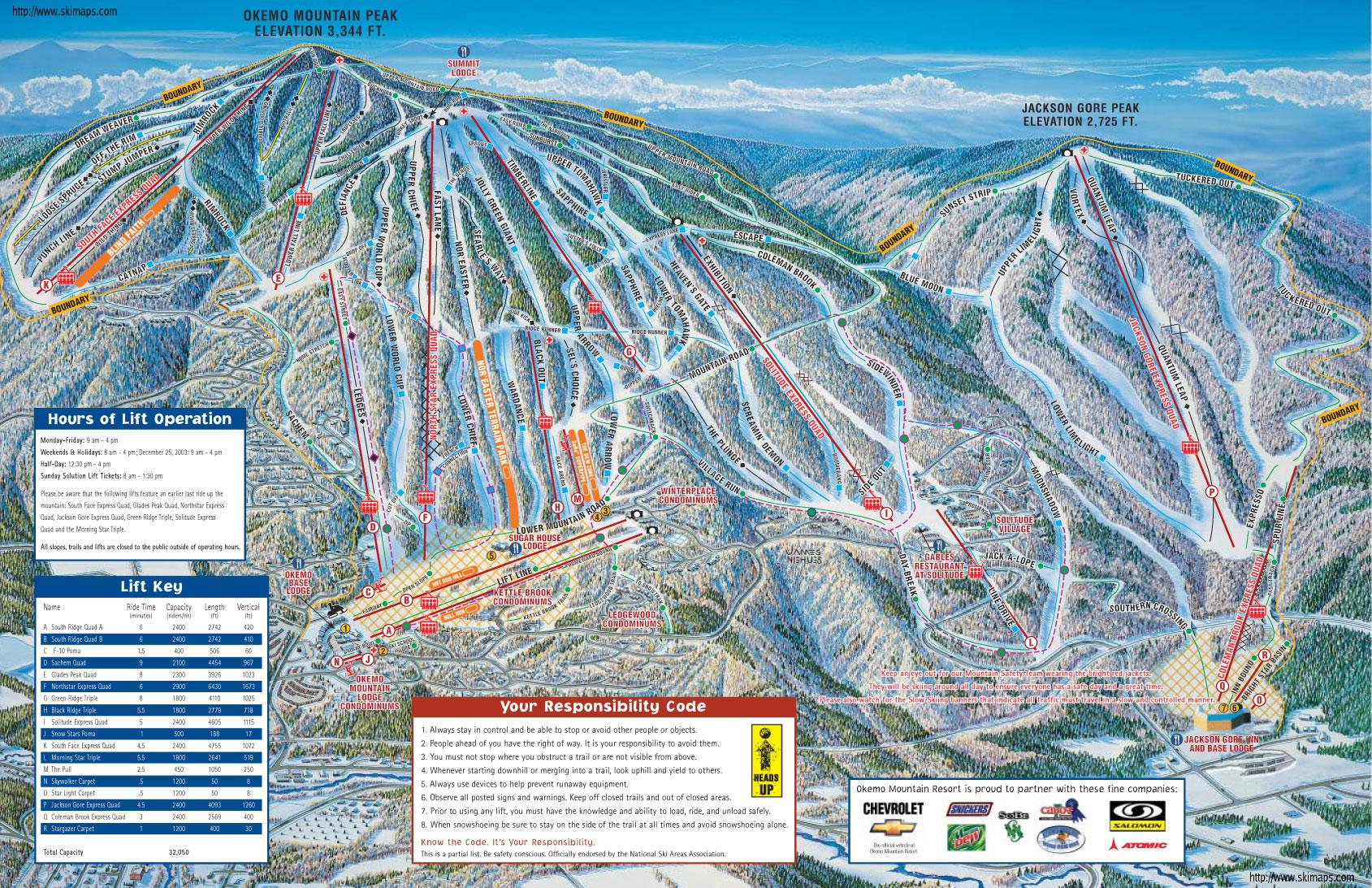 . okemo mountain piste map  trail map (high res)