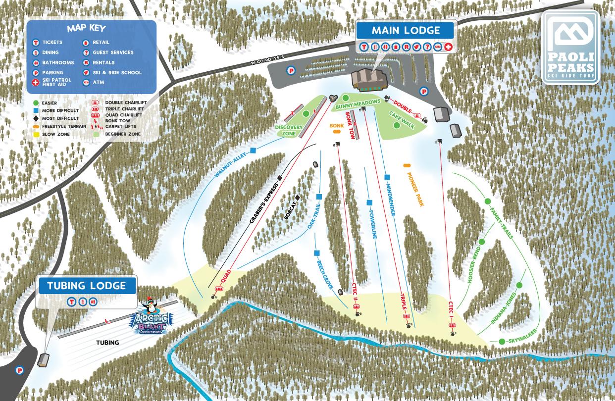 Paoli Peaks Ski Resort Guide Map
