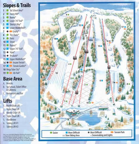 Powder Ridge Piste / Trail Map