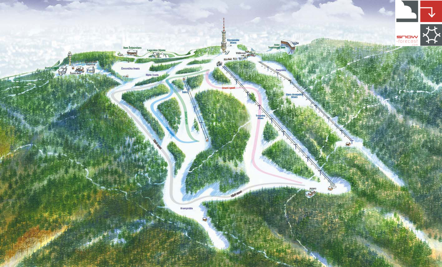 Sljeme Piste / Trail Map