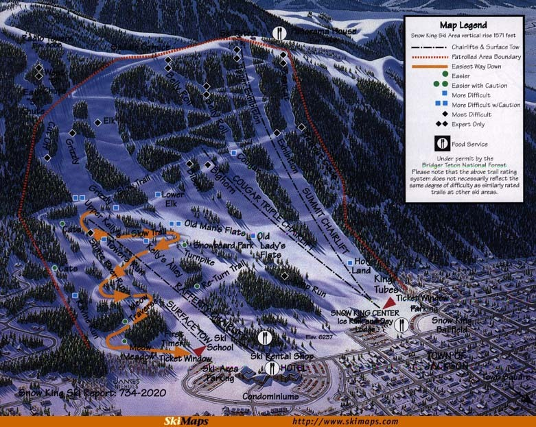 Snow King Resort Piste / Trail Map