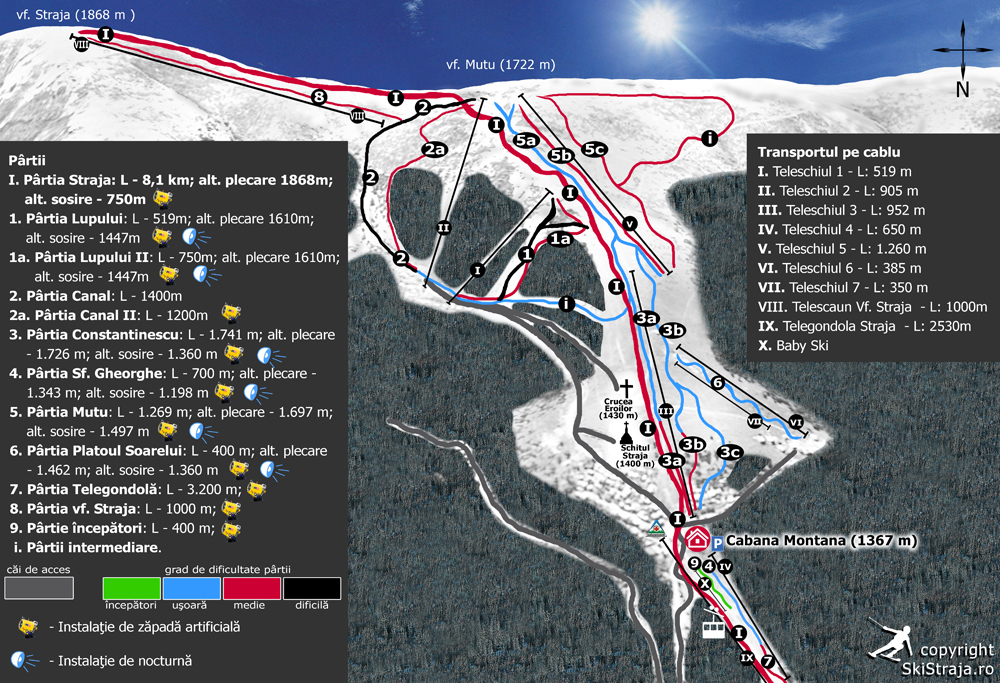 Straja Piste / Trail Map
