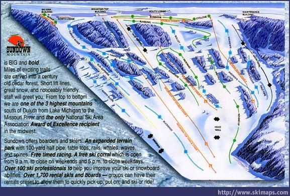 Sundown Mountain Piste / Trail Map