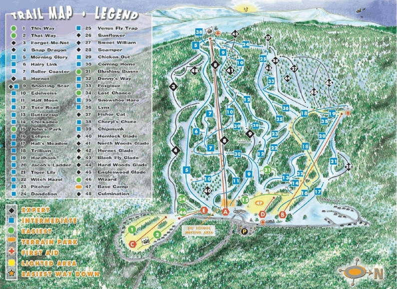 Tenney Mountain Piste Map Trail Map