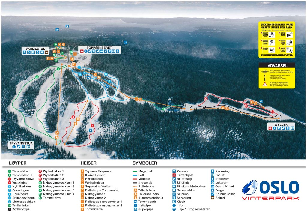 Tryvann Piste / Trail Map
