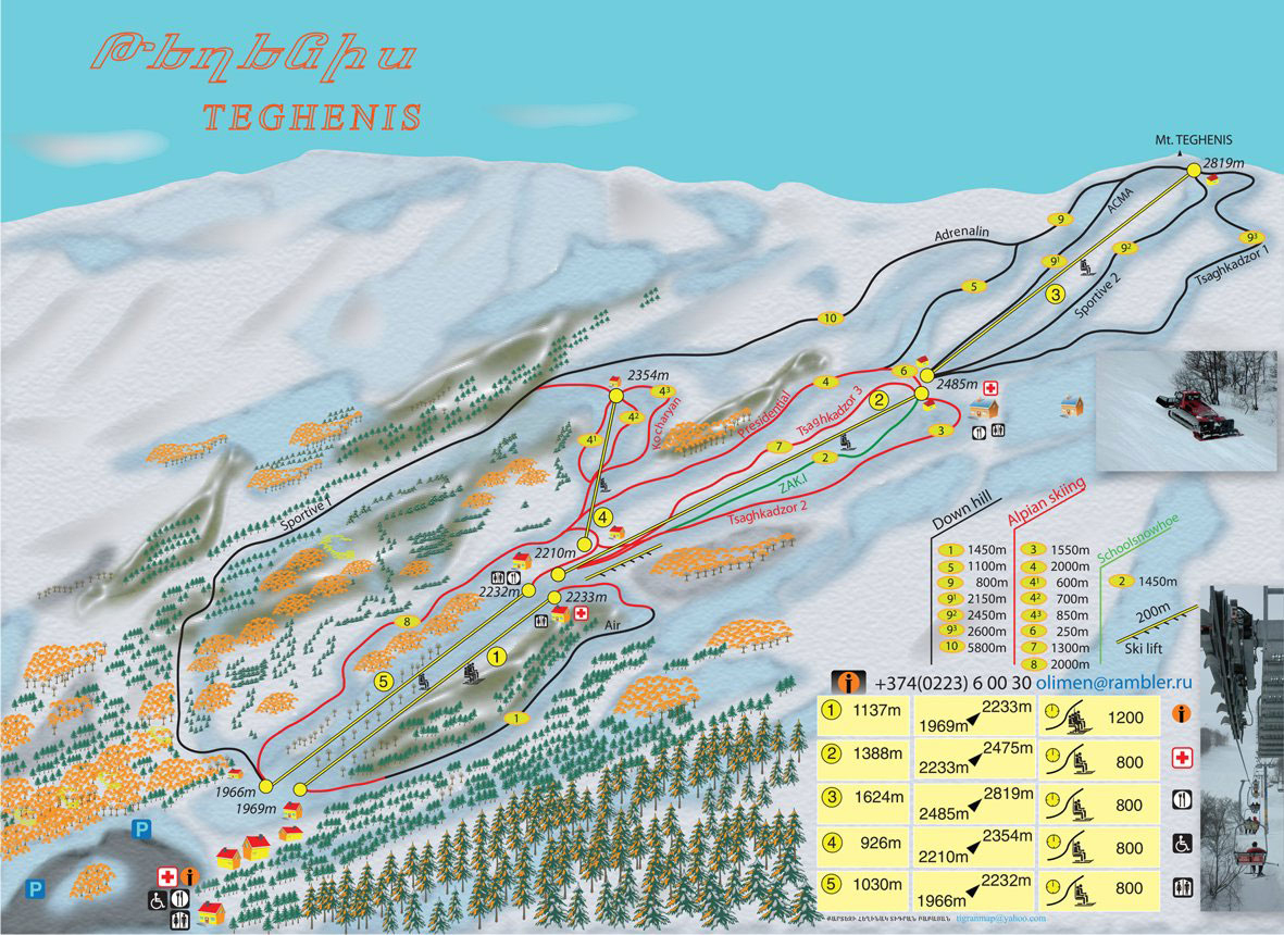 Tsakhkadzor Piste / Trail Map