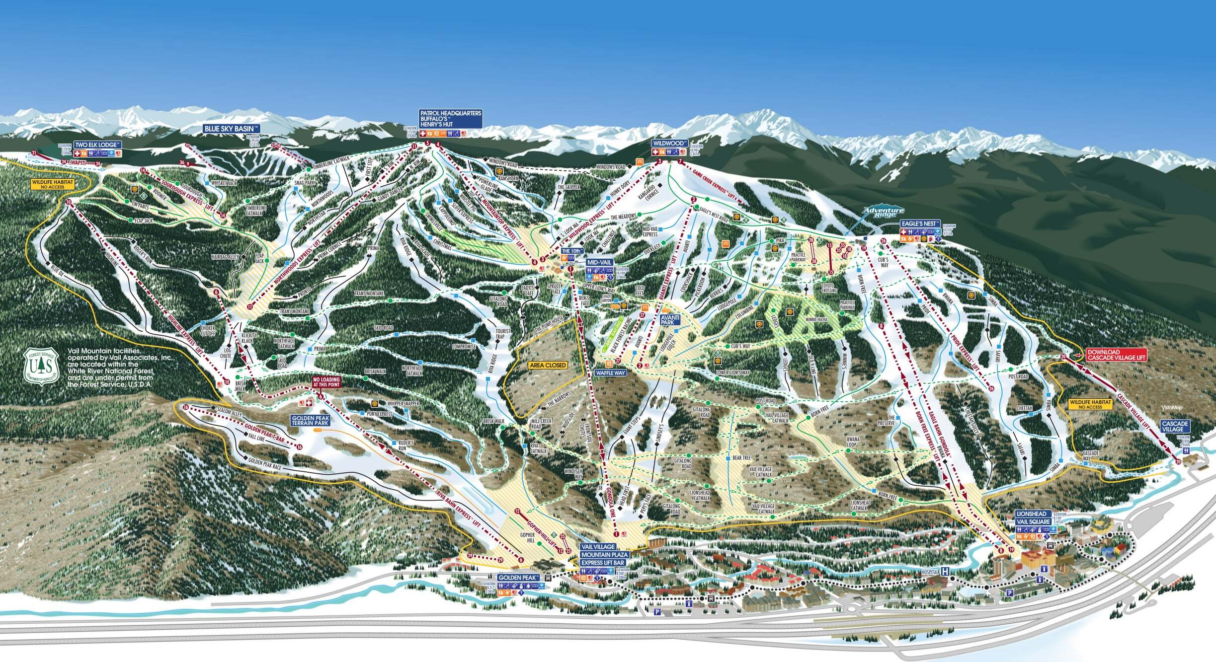 Click the map to view a full-sized version of the trails at Vail ski resort.