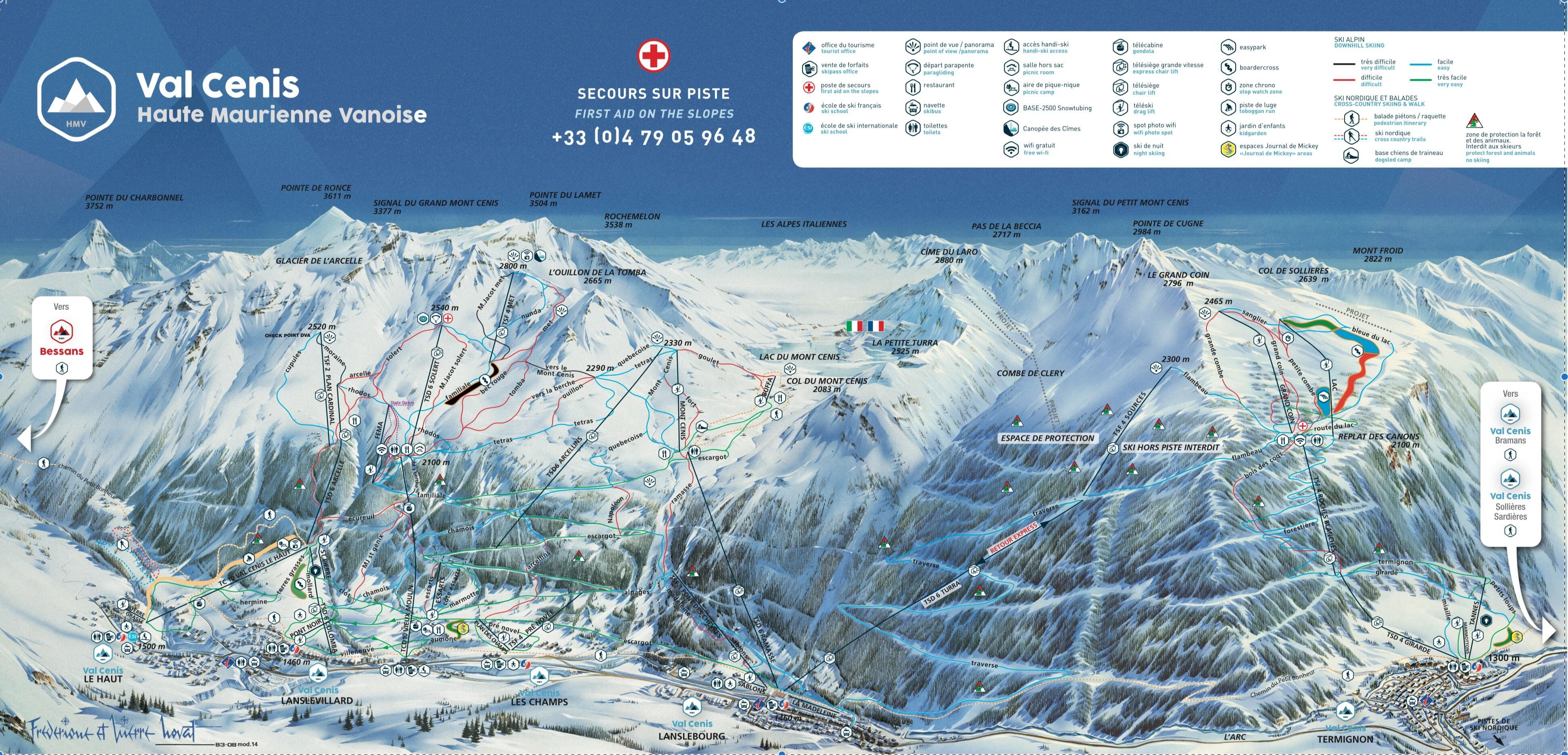 Карта склонов: Ле Дез Альп