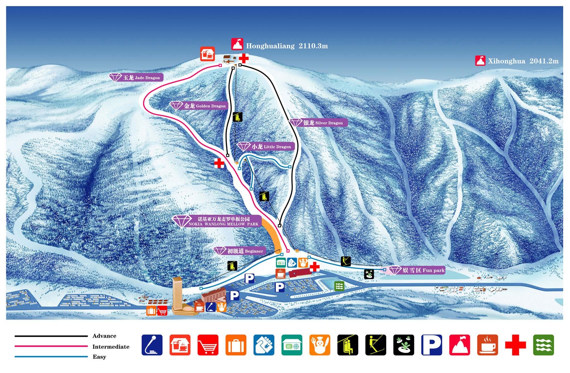 Wanlong Piste / Trail Map