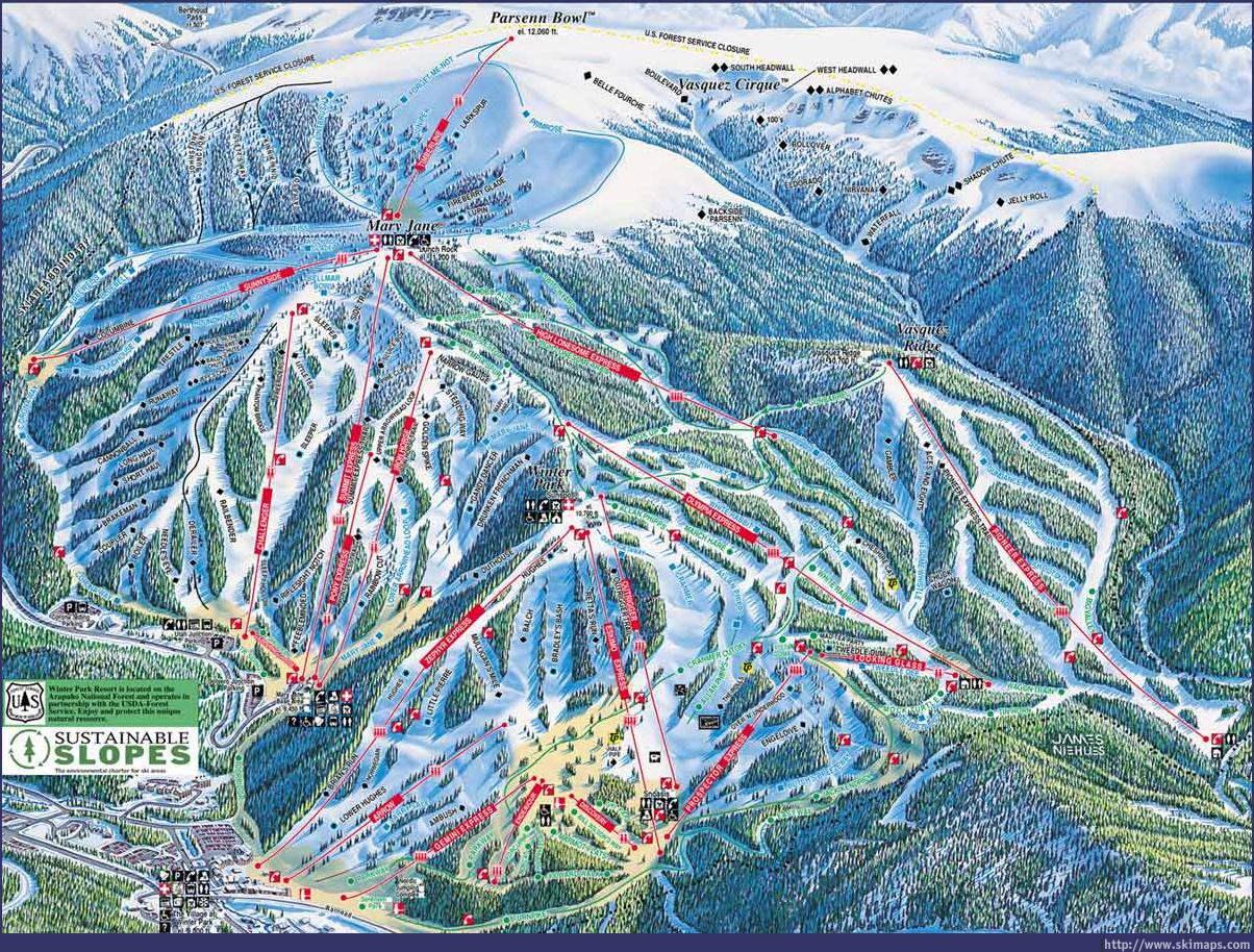 Winter Park Piste Trail Map