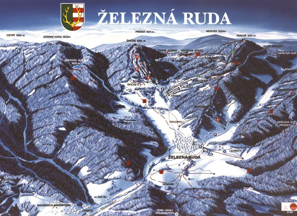 Železná Ruda Špičák Схема трасс / маршрутов.