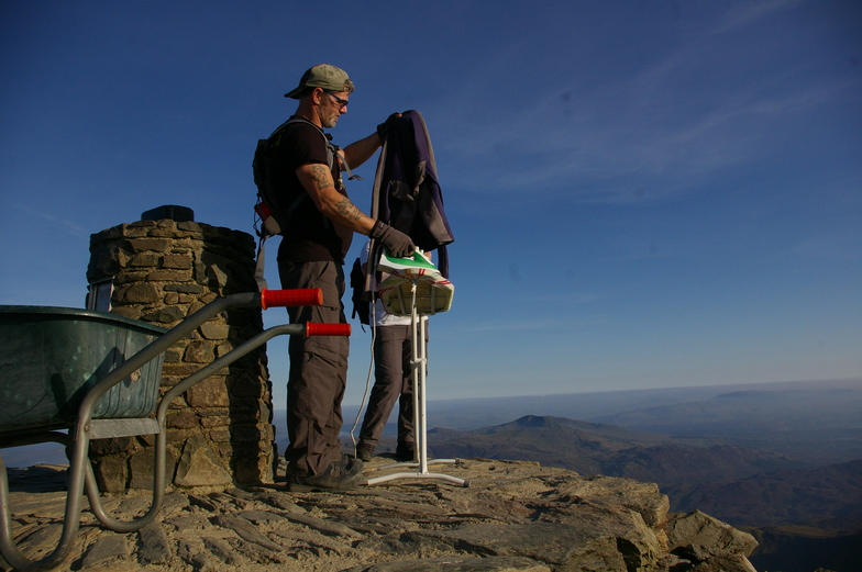 extreme ironing at snowdon summit!
