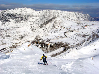 View from top lift in Laklouk resort, Lebanon, Mzaar Ski Resort