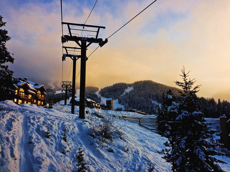 Sunset on the Village Gondola, Panorama Mountain Resort