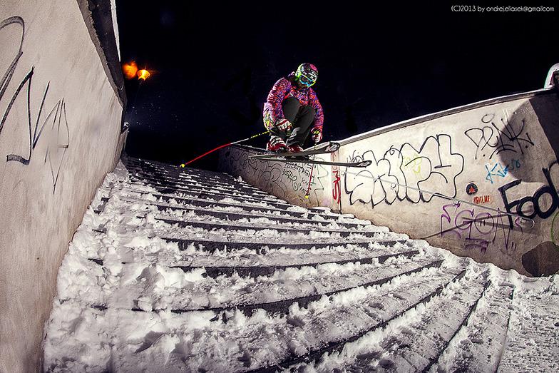Radim Palan skiing Petrin, Praha - Petřín